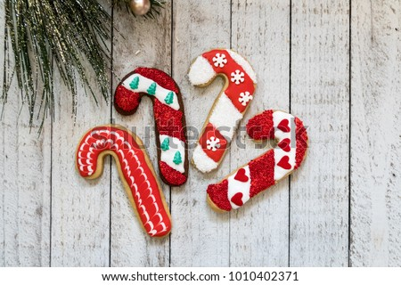 Homemade Candy Cane Decorated Christmas Sugar Stock Photo Edit Now