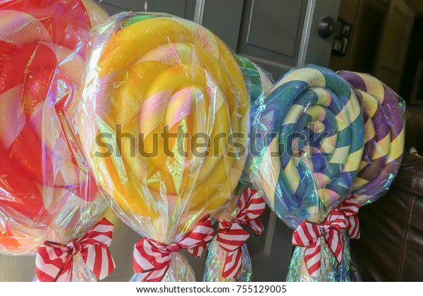 Lollipop Christmas Decorations.Homemade Candy Lollipop Christmas Decorations Stock Photo