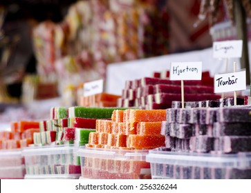 Homemade candy at a marketplace in Sweden with short depth of field.