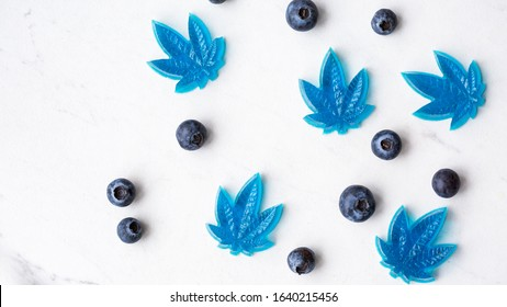 Homemade cannabis infused gummy candy. Blueberry flavour cannabis edibles.