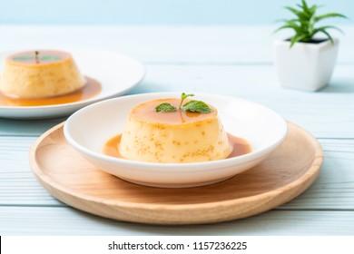 homemade caramel custard pudding with mint