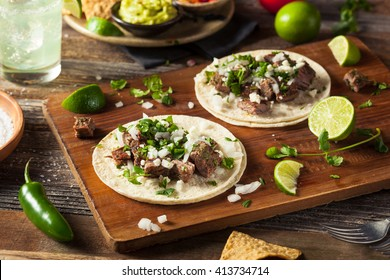 Homemade Carne Asada Street Tacos with Cheese Cilantro and Onion
