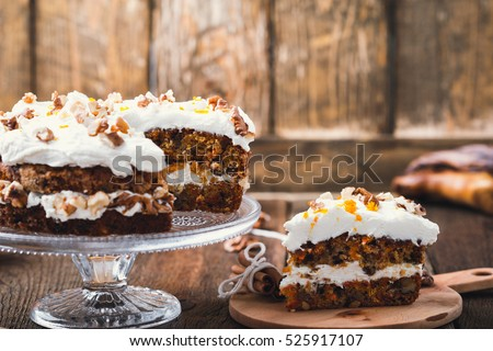 Homemade Carrot Orange Cake Cream Cheese Stock Photo (Edit