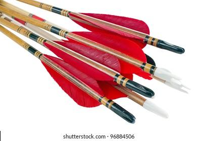 Homemade cedar wood archery arrows, isolated on white