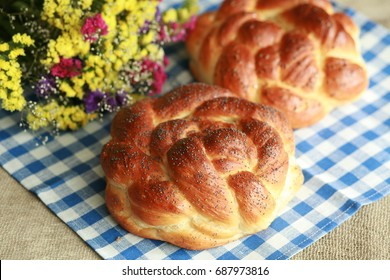 Homemade challah on Shabbat