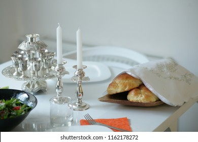 Homemade challah,Sabbath candles on the table