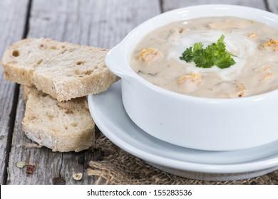 Homemade Chanterelle Cream Soup with fresh herbs
