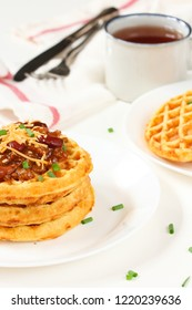 Homemade Cheddar Cornbread Waffles served with Chili /Thanksgiving breakfast on white background