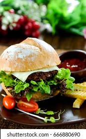 Homemade  cheese burger with beef