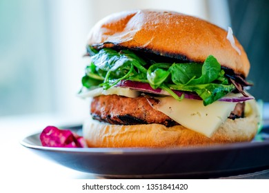 Homemade cheese burger on a plate