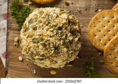 Homemade Cheeseball with Nuts and Wheat Crackers