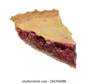 Homemade cherry pie slice isolated on a white background.  Focus stacking used for large depth of field.
