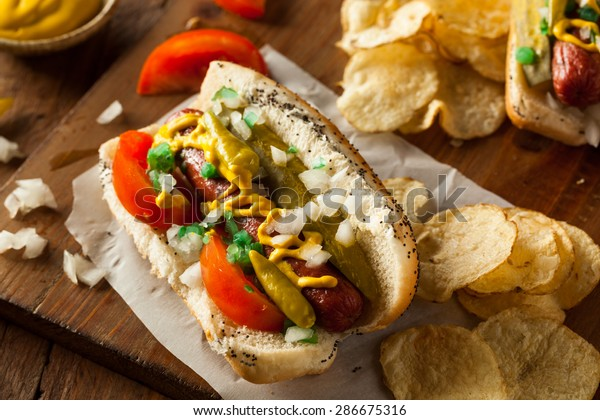Homemade Chicago Style Hot Dog with Mustard Relish Tomato and Onion