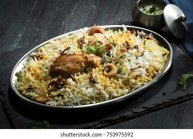 Homemade Chicken Biryani close up, selective focus