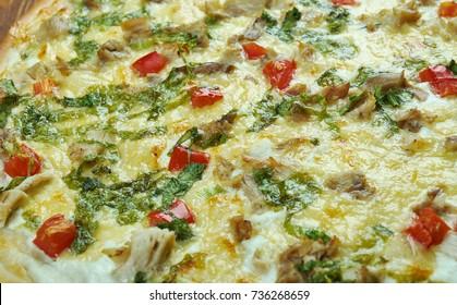 Homemade Chicken Florentine Pizza, Italian Cuisine