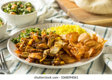 Homemade Chicken Shawarma Plate with Salad and Rice