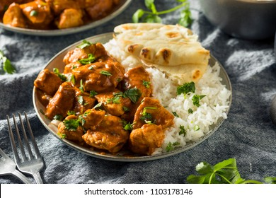 Homemade Chicken Tikka Masala with Rice and Naan