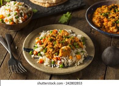 Homemade Chicken Tikka Masala with Rice and Naan