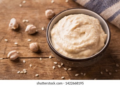 Homemade chickpea hummus in a bowl