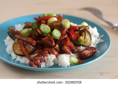 Homemade Chinese food with rice with vegetables and chicken