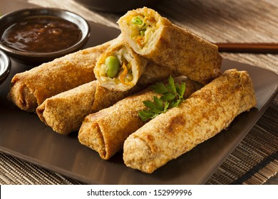 Homemade Chinese Vegetable EggRolls with Soy Sauce