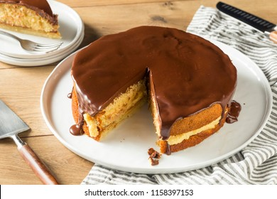 Homemade Chocolate Boston Cream Pie Ready to Eat