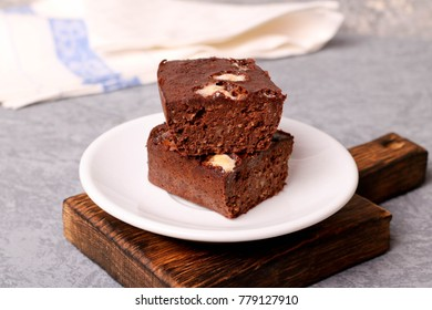 Homemade chocolate brownie, close up, horizontal