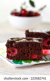 Homemade of chocolate brownies with cherries