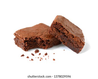 Homemade chocolate brownies with crumbs isolated on white background