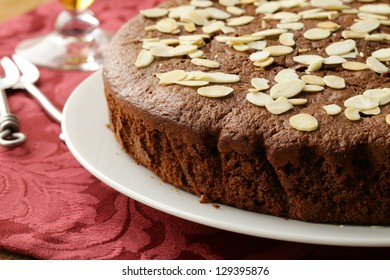 homemade chocolate cake with almond topping