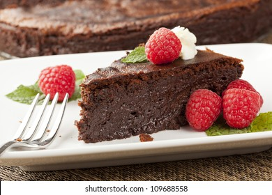 Homemade Chocolate Cake with raspberry and mint