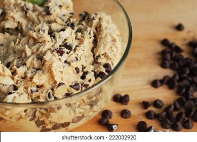 Homemade Chocolate Chip Cookie Dough in mixing bowl prepare for bake.