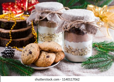 Homemade Chocolate chip cookie mix in a glass jar for Christmas holiday gift,selective focus
