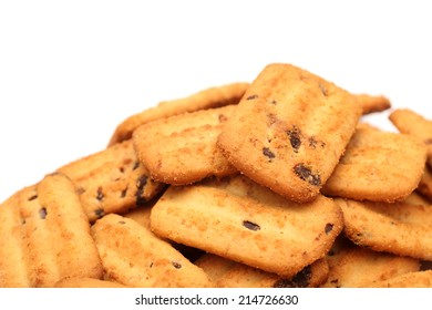 Homemade chocolate chip cookies against white background.