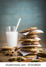 Homemade Chocolate Chip Cookies and Milk with Copy space