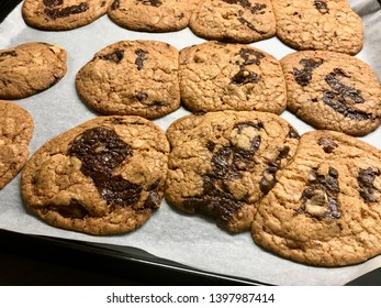 Homemade Chocolate Chip Cookies on Oven Tray.