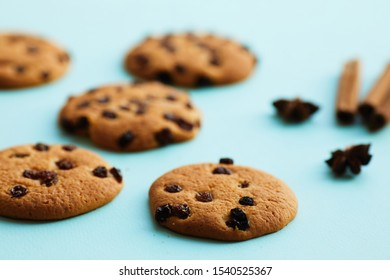 Homemade chocolate chips cookies on blue background