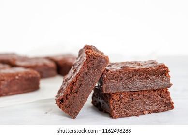 homemade chocolate fudge brownies freshly bake