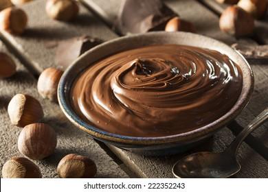 Homemade Chocolate Hazelnut Spread on a Background