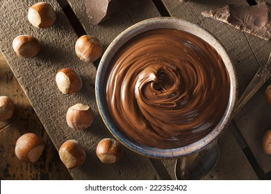 Homemade Chocolate Hazelnut Spread on a Background