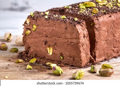 Homemade Chocolate and pistachio Semifreddo Ice Cream. Perfect make-ahead dinner-party pudding.