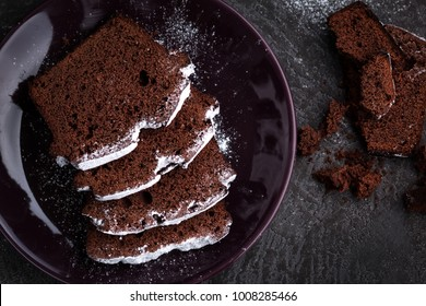 Homemade Chocolate Pound Cake. Pound Cake on Dark Background.