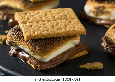Homemade Chocolate Smores with Marshmallows and Cookies