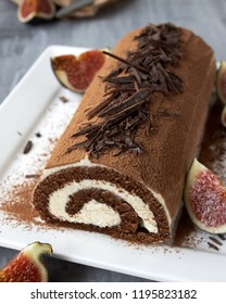 Homemade Chocolate Swiss Roll with figs mascarpone