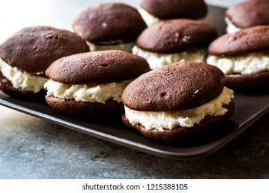 Homemade Chocolate Whoopie Pies Filled with Vanilla Butter Cream.