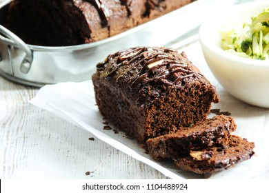 Homemade Chocolate Zucchini Bread, selective focus