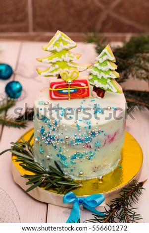 Homemade Christmas Cake Decorated Gingerbread On Stock Photo Edit