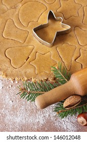 Homemade christmas cookies and angel cutter.