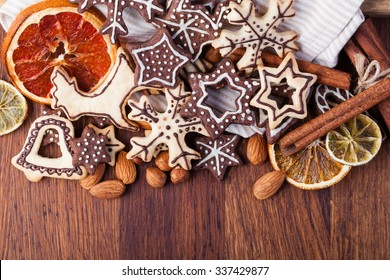 Homemade christmas cookies on wooden table