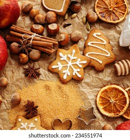 homemade christmas gingerbread cookies and spices